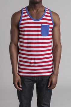Red stripe summer tank. Fourth of July material.