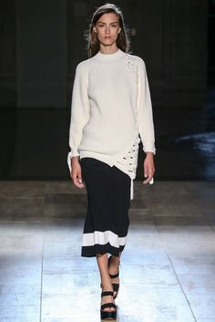 Victoria Beckham | Spring 2015 Ready-to-Wear | 16 White long sleeve sweater and black knit midi skirt with white stripe