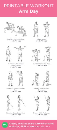 Survival Muscle Arm Day: my custom printable workout by The Hidden Survival Muscle In Your Body Missed By Modern Physicians That Keep Millions Of Men And Women Defeated By Pain, Frustrated With Belly Fat, And Struggling To Feel Energized Ever Fitness Workouts, Yoga Fitness, At Home Workouts, Fitness Tips, Health Fitness, Gym Machine Workouts, Gym Workouts For Women, Fitness Foods, Gym Routine Women