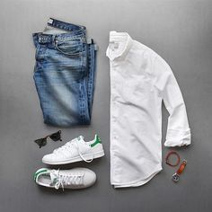 Blue jeans and oxfords #sundaystyle Shirt: @alexmillny Shoes: @adidasoriginals Stan Smith Bracelet: @caputoandco Sunglasses: @rayban Denim: @baldwin Watch: @tsovet
