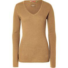 DEAR CASHMERE Camel Cashmere V-Neck Pullover ($270) ❤ liked on Polyvore