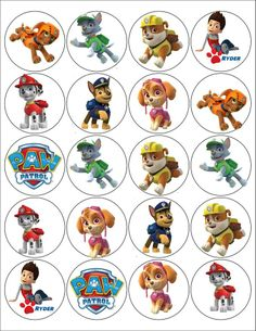 Paw Patrol  2 inch Stickers , 20 stickers to a sheet