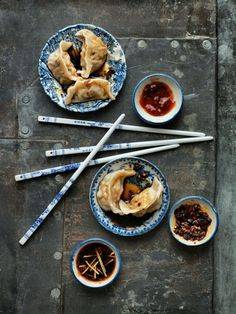 "Asian food styling. Be aware that although it is in this picture, you should never ""cross"" your chopsticks, as it is a symbol of death in some Asian cultures."