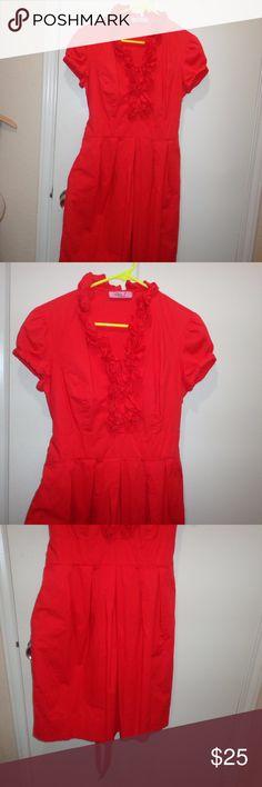Sz 12 Eliza J Shift Dress Gently used, no holes or stains.  Kinda pink/red/coral color. attached belt, pockets , cotton/spandex  armpit to armpit 19 length 36 Eliza J Dresses