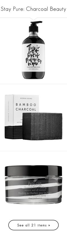 """Stay Pure: Charcoal Beauty"" by polyvore-editorial ❤ liked on Polyvore featuring charcoalbeauty, beauty products, skincare, face care, boscia skin care, boscia, boscia skincare, paraben free skin care, filler and yes to skincare"