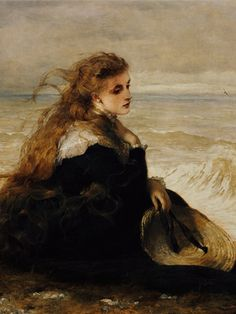 decomposion:   Art history meme(x) - 5-6/10 painthings -On the Seashore (1879) by George Elgar Hicks and Distant Thoughts by Wilhelm August Lebrecht Amberg