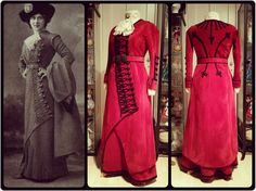 Edwardian walking suit c. 1910 and reproduction made by Angela Mombers