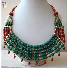 Turquoise and Coral Bohemian Necklace/Chunky Necklace/Bubble Necklace/Statement Necklace/Bib Necklace - Beaded Jewelry - Wedding nacklaces (*Amazon Partner-Link)