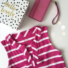 HP♠️Kate Spade Striped Tropez Dress Adorable ♠️Kate Spade Striped pink and white cotton shift dress. Two front pockets and signature bow at neckline. Worn once, excellent condition. kate spade Dresses Midi