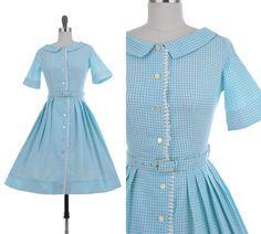 Penny Gingham Dress / 1950's Vintage Baby Blue Swing Rockabilly Pinup Bombshell Spring Summer Cotton 50s Shirtwaist Full Skirt Day Dress XS