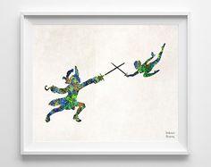 Peter Pan Print Disney Art Watercolor Captain Hook by InkistPrints