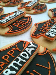harley davidson cookies for mom & dad or nino & Nina :) 60th Birthday Party, Birthday Cookies, Cupcake Cookies, Sugar Cookies, Birthday Ideas, Cupcakes, Motorcycle Birthday, Motorcycle Party, Harley Davidson Cake