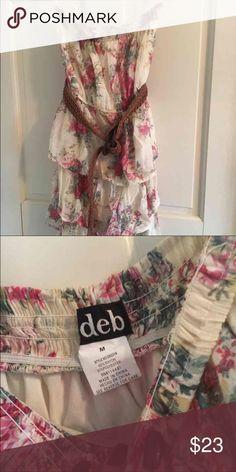 floral dress medium floral print strapless dress, kind of short but it adorable on Deb Dresses Strapless