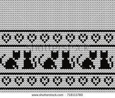 Knitted seamless border cats and hearts Fair Isle Knitting Patterns, Knitting Designs, Crochet Patterns, Cross Stitch Borders, Cross Stitching, Cross Stitch Patterns, Knitting Socks, Baby Knitting, Punto Fair Isle