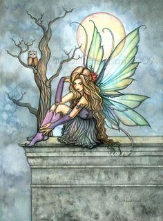 Fairy Art Print Owl Print Fine Art Fantasy Illustration by Molly Harrison 'The Thinker' Unicorn And Fairies, Fairy Paintings, Kobold, Fairy Pictures, Fairy Coloring, Mandala, Beautiful Fairies, Owl Print, Fantasy Illustration