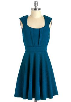 Out on the Veranda Dress. Even though youre surrounded by breathtaking colors and beautiful blooms, you still stand out in this textured dress! #blue #modcloth