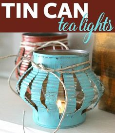Recycle tin cans by transforming them into simple, rustic elements in your home décor. @DecoArt #decoartprojects #decoartprojects