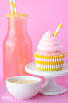 Pink Lemonade Cupcakes - I don't usually use boxed mix, but these are super cute!