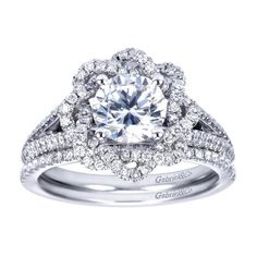 Gabriel & Co. - Would you rock this 14k White Gold Contemporary Halo Engagement Ring?