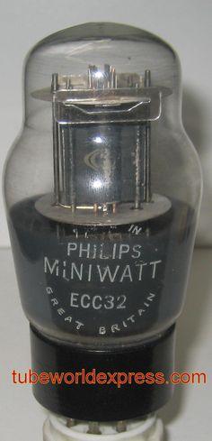 (!) ECC32 Philips Miniwatt UK by Mullard black plates 1950's (6.0/6.1m