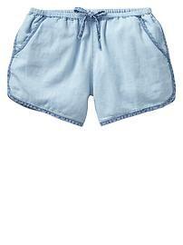 Chambray varsity shorts