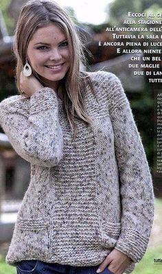 El pulóver de mezcla Sweater Knitting Patterns, Knitting Stitches, Knit Patterns, I Fall To Pieces, Felt Animal Patterns, Knit Fashion, Knit Cardigan, Knitwear, Knit Crochet