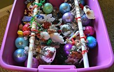 Expert DIYer uses plastic storage bins in ways I never expected. Here are 35 fantastic ideas - 35 Brilliant Ways To Use Plastic Storage Bins - Diy Ornament Storage, Christmas Ornament Storage, Christmas Diy, Christmas Decorations, Xmas, Christmas Feeling, Diy Ornaments, Christmas Stuff, Christmas Recipes