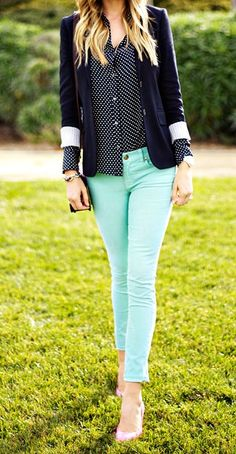 mint green jeans with polka-dot blouse and blazer