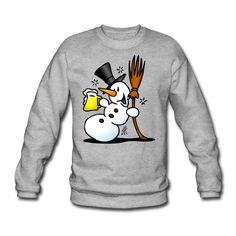 Snowman drinking sweatshirt. #Spreadshirt #Cardvibes #Tekenaartje #SOLD
