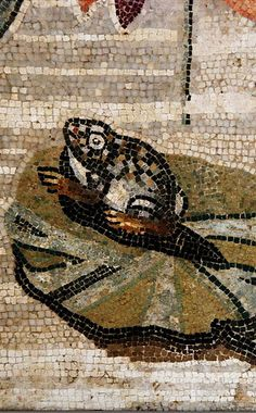 Frog on lilypad (from either Pompeii or Herculaneum), detail from photograph taken by Hans Ollermann