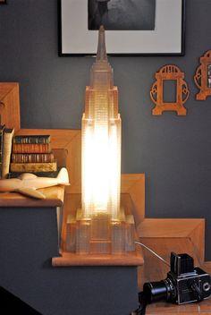 New York, Empire State Building, desk lamp, floor lamp, vintage 80s, resin, neon light, working