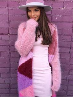 Pink cardigan..