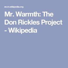 Mr. Warmth: The Don Rickles Project - Wikipedia