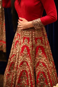 Bridal red and gold lehenga. Indian bridal fashion.