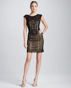 Sue Wong Cap Sleeve Lace and Passementerie Cocktail Dress