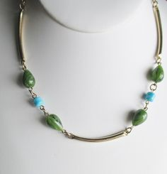 Vintage 70's Era Sarah Coventry Gold Plated Chain Necklace Faux Jade / Turquoise #SarahCoventry #ChainBeadAccentedChain
