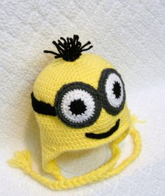 f263fccb65241 Items similar to Yellow Minion with Goggles Earflap Hat- MADE TO ORDER on  Etsy
