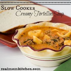 Slow Cooker Creamy Tortellini Soup - Real Mom Kitchen
