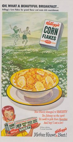 "1950 Kellogg's Cornflakes Cereal Ad ""Beautiful Breakfast"" Illustration Mid Century Vintage Advertising Print Kitsch Kitchen Wall Art Decor (9.95 USD) by AdVintageCom"