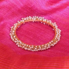 Chandika Temple Jewellery Bangle in Pearls