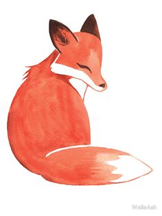 'Watercolor Fox' Poster by Ashley Weiler Watercolor Fox Tattoos, Watercolor Pencils, Watercolor Paintings, Watercolor Journal, Watercolor Ideas, Fuchs Illustration, Fox Drawing, Fox Painting, Fox Art