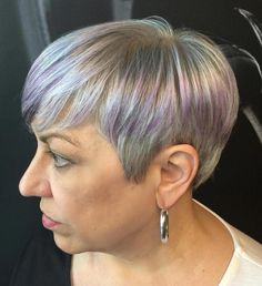 Silver Blonde Pixie With Purple Balayage