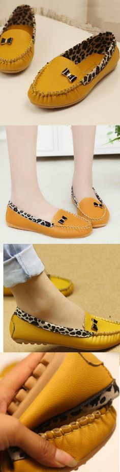 Casual Leopard Flat Shoes! Click The Image To Buy It Now or Tag Someone You Want To Buy This For. #YellowShoes