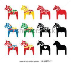 Swedish Dalecarlian, Dala horse vector icons set - stock vector