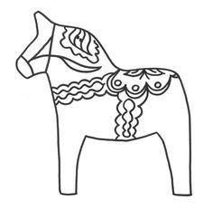 Dala Horse Coloring Page - Love Swedish folk art. Folk Embroidery, Paper Embroidery, Embroidery Patterns Free, Embroidery Designs, Swedish Embroidery, Embroidery Stitches, Machine Embroidery, Swedish Christmas, Scandinavian Christmas