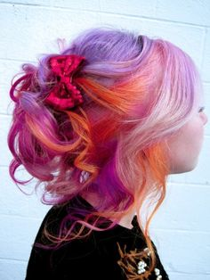 I want to do this with my hair. Purple, pink and orange hair. How gorgeous!