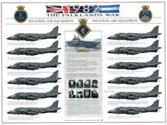 The Falklands War 800 NAS/899 Naval Air Squadron. Signed print.  HJ Dempsey A3 print, exclusive to the Fleet Air Arm Museum. £19.95 inc VAT
