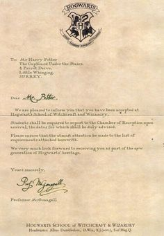 You have been accepted to Hogwarts school of Witchcraft and Wizardry. You have been accepted to Hogwarts - Harry Potter Journal, Harry Potter Carta, Harry Potter Brief, Harry Potter Thema, Classe Harry Potter, Cumpleaños Harry Potter, Harry Potter Tumblr, Harry Potter Birthday, Hogwarts Acceptance Letter Template