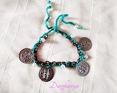 Darghamyo designs: Pulsera / tobillera en crochet con monedas bereber...