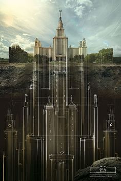 """BELOW THE SURFACE - Agency Saatchi&Saatchi Russia has made illustrations campaign for the Schusev State Museum of Architecture in Moscow, entitled as """"Below The Surface"""". Monument Russe, Photomontage, Saatchi & Saatchi, 3d Art, Design Art, Graphic Design, Below The Surface, Photo Manipulation, Marketing Digital"""